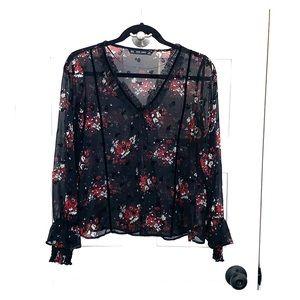 Red floral top, velvet/lace trim. Zara size XS